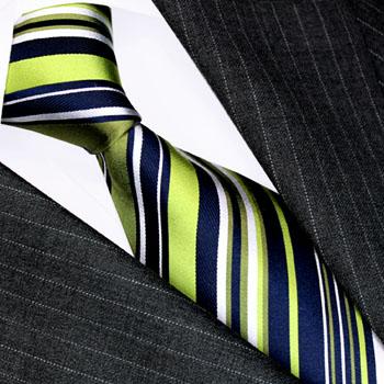 84519 LORENZO CANA gestreifter Schlips Krawatte Seide Grün Weiss blau