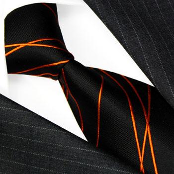 84520 LORENZO CANA Krawatte 100% Seide, Schwarz Orange Linien Streifen