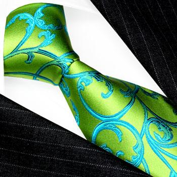 84521 LORENZO CANA Schlips Krawatte Seide Grün Türkis Paisley Floral