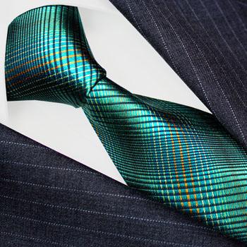 84536 LORENZO CANA Seide Krawatte Grün Schwarz Karo Green Silk Necktie