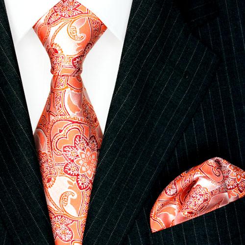 8453901 Lorenzo Cana Krawatten mit Einstecktuch Paisley Orange Beige