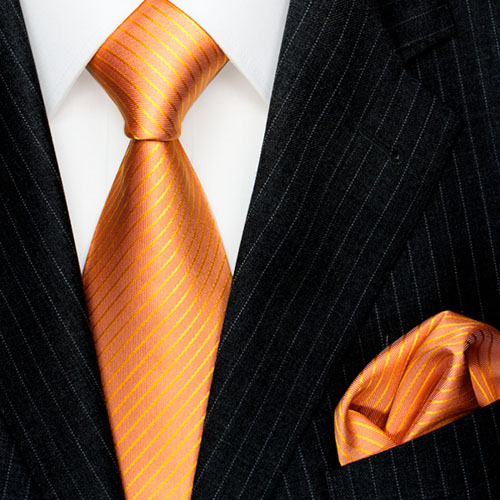 8454901 Lorenzo Cana Krawatten mit Einstecktuch Gestreift Orange Lachs