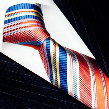 84551 LORENZO CANA Barock Krawatte Seide Streifen Orange Weiss Blau