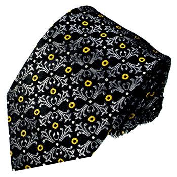 84561 LORENZO CANA Krawate 100% Seide Barock Floral Schwarz Weiss Gold