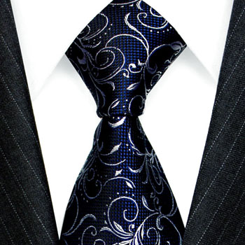 84564 LORENZO CANA Krawatte 100% Seide Blau Weiss  Ranken floral