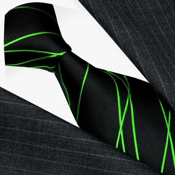 84567 LORENZO CANA Krawatte 100% Seide Schwarz Grün Zickzack Streifen